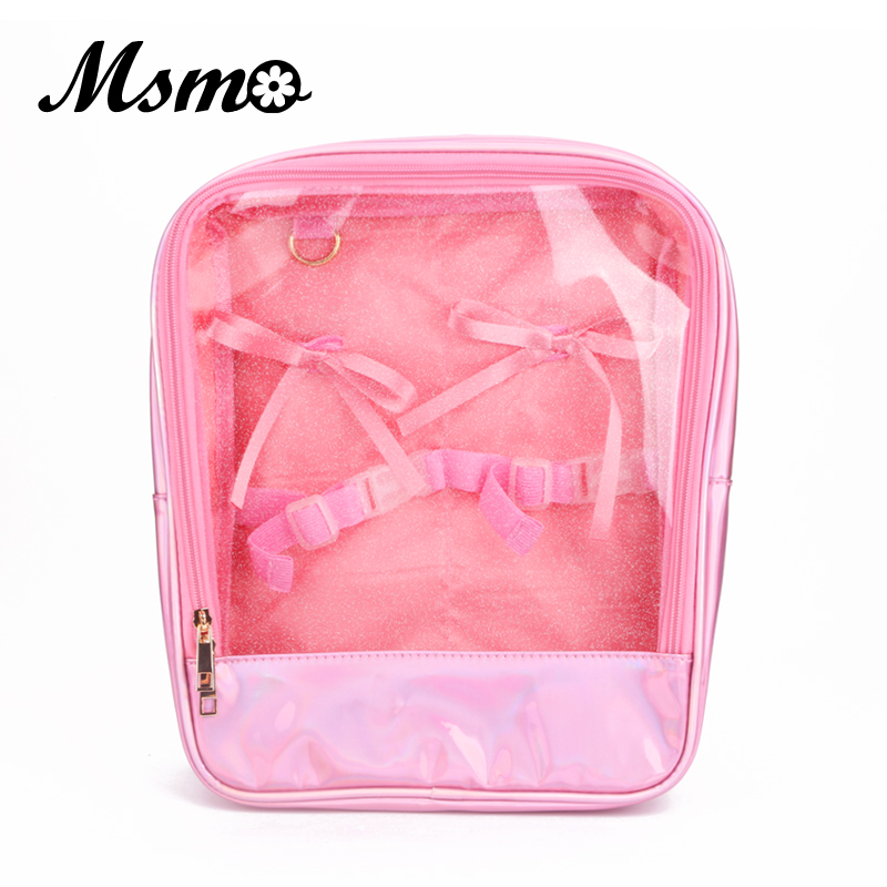 MSMO BJD 1/6 BLYTHE Transparent Hologram Laser Backpack School Bag Harajuku Knot Holographic Backpack