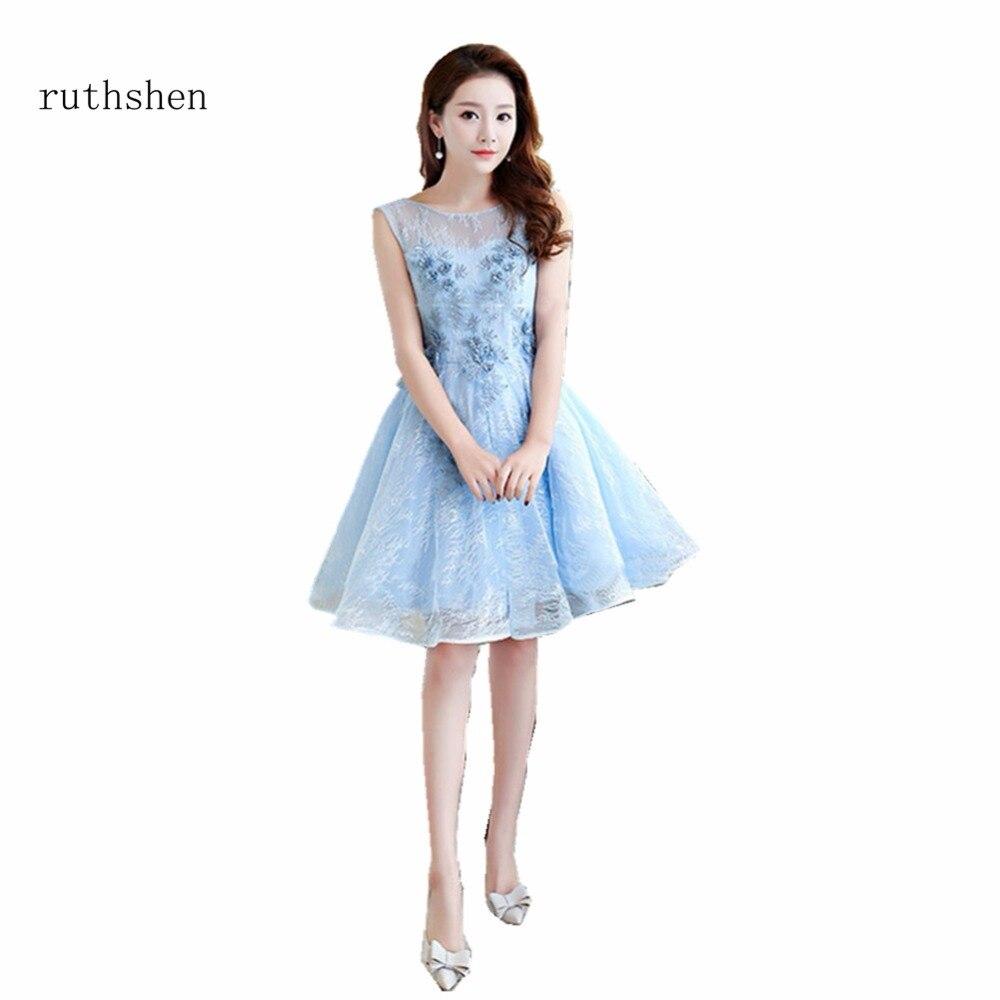 ruthshen Fashion Short Cheap   Cocktail   Party   Dresses   2018 Organza Lace Prom   Dress   Vestidos De Coctel Corto Women Formal Gowns