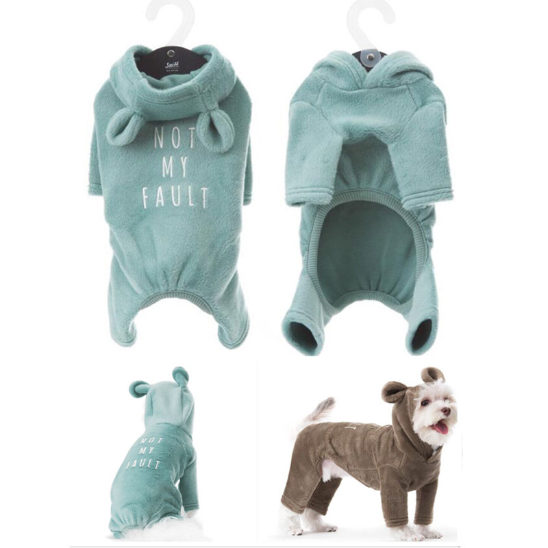 Dog Clothes for Small Dogs Cute French Bulldog Jumpsuit Chihuahua Coat Jacket for Puppy Cat Ear Hooded Clothes for Dogs S-2XL