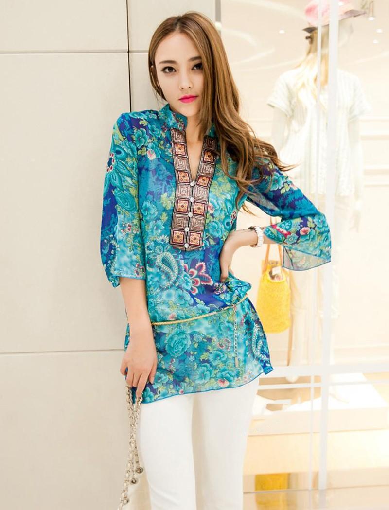 2017 new fashion kobiety bluzka koszula lato w stylu kobiety vestidos szyfonowa Mini Suknia Plus rozmiar 4XL floral Casual Topy Blusas Mujer 7