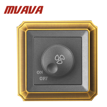 цена на New Arrival MVAVA Ceiling Fan Speed Control on/off Switch Wall Dimmer switch AC220V 10A,Luxury Bronzed frame panel,Free shipping