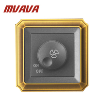 MVAVA New Arrival Ceiling Fan Speed Control On/off Switch Wall Dimmer Switch AC220V 10A Luxury Bronzed Frame Pane Free Shipping