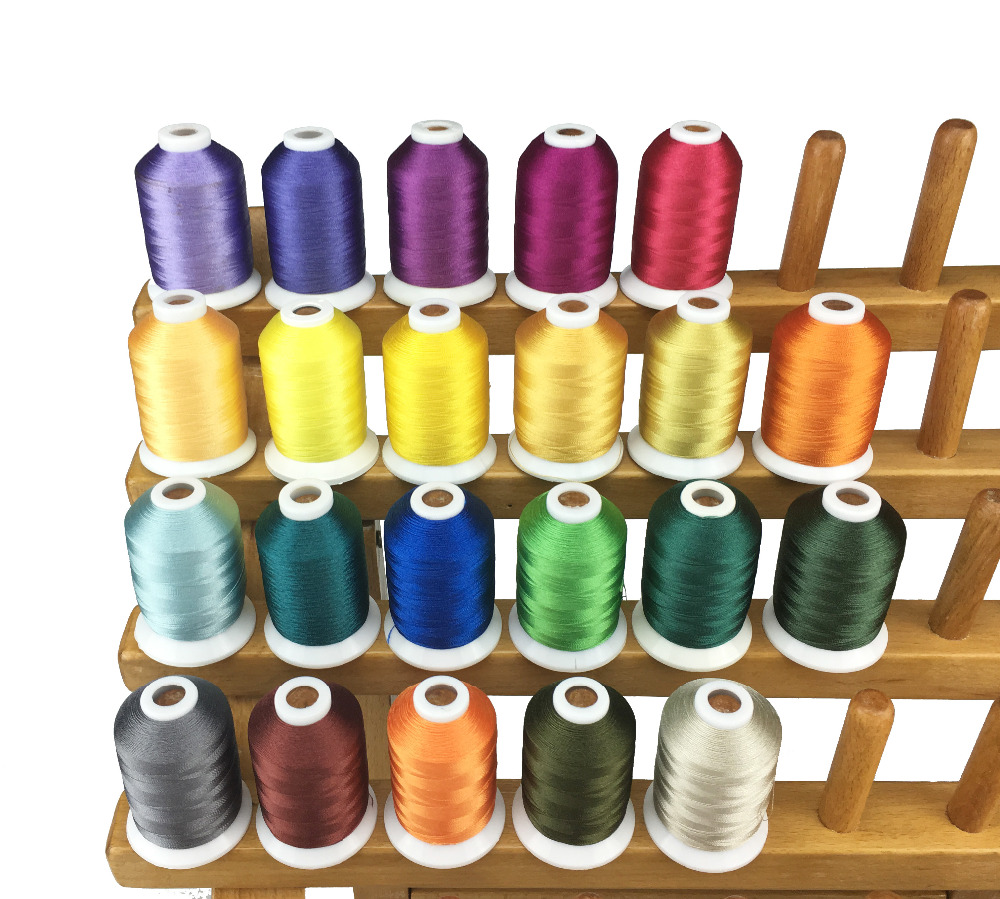 New Arrival Polyester Embroidery Machine Spools Thread 22 Brother Colors 1 100 Yards Each