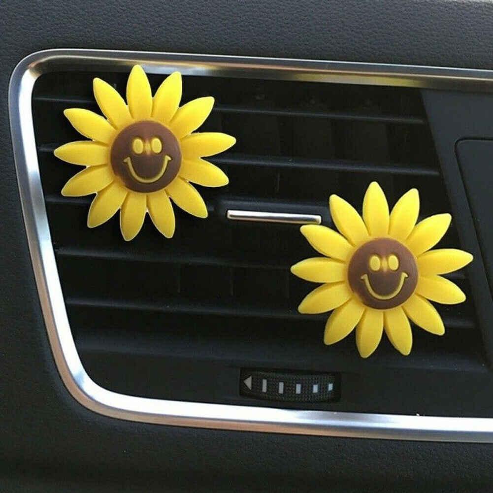 New Car Saída De Ar Ambientador Lindo Girassol Girassol Perfume Perfumado Clipe Ocasional Acessórios Interiores de Automóveis