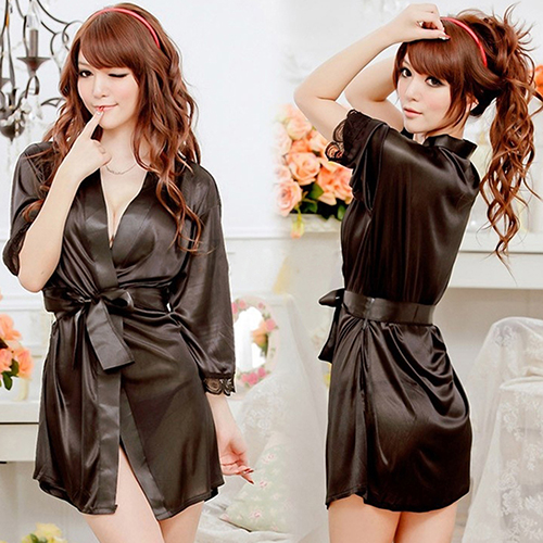 Women Sexy Robe Dress Sleepwear Nightwear Open Front Belted Nightgown New Arrival Платье