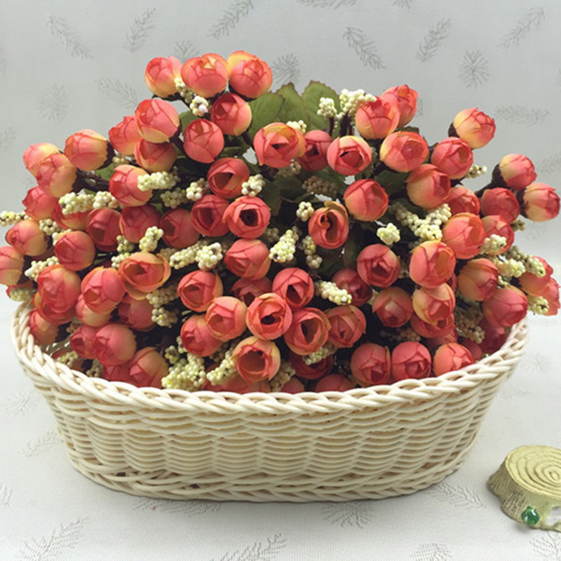15Heads Mini Silk Peony Artificial Flowers Bride Bouquet For Wedding Home Party Decoration 2