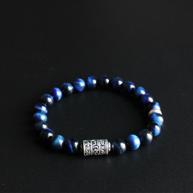 Eastisan Blue Eagle Eye Stone Beads Con Buddismo Tibetano Mantra Totem Braccialetto di Fascino Per Uomo Donna Om Mani Padme Hum gioielli