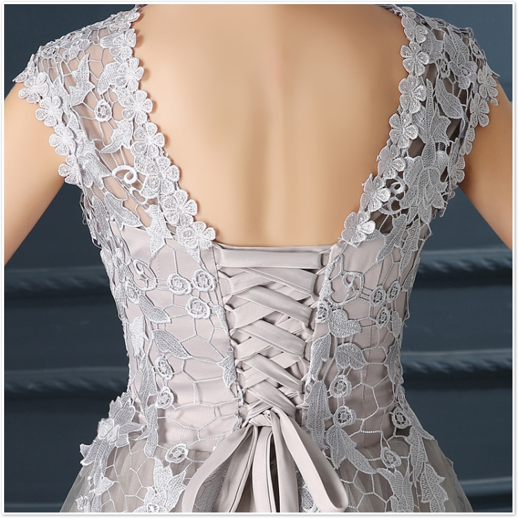 Robe De Soiree 2017 gery u collar Lace Up short evening dress abendkleider vestito da sera prom dresses party dresses 4 colors 19
