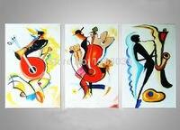 Handgeschilderde Spelen Muziekinstrumenten Moderne Abstracte 3 Stuk Olieverf Grote Muur Foto Voor Woonkamer Decoratie Set