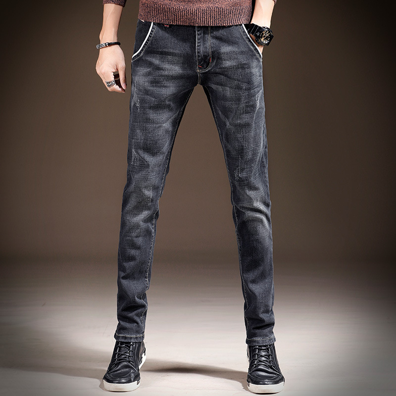 Mens Skinny Jeans 2019 New Classic Solid Casual Designer Straight Dark Blue & Blue Stretch Denim Pencil Trouers