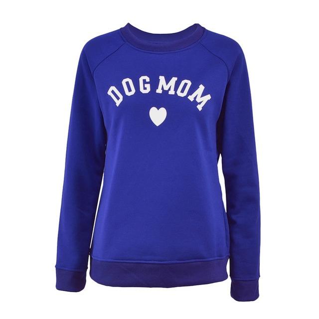 Dog Mom Long Sleeve Casual Sweatshirt Women's Print Fashionable Heart-shaped Print Kawaii Sweatshirt Printing Pattern