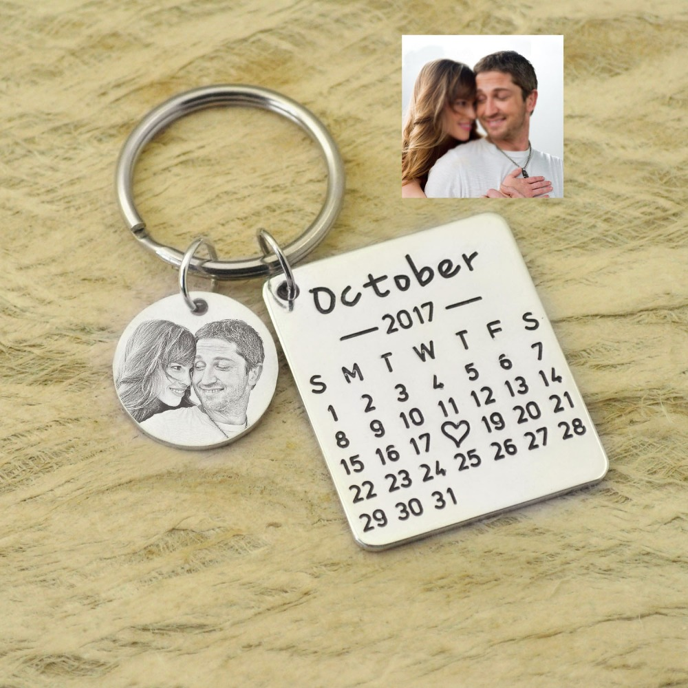 Personalized Calendar Keychain Hand Stamped Calendar Special Day Calendar Anniversary Wedding Gift Photo Keychain