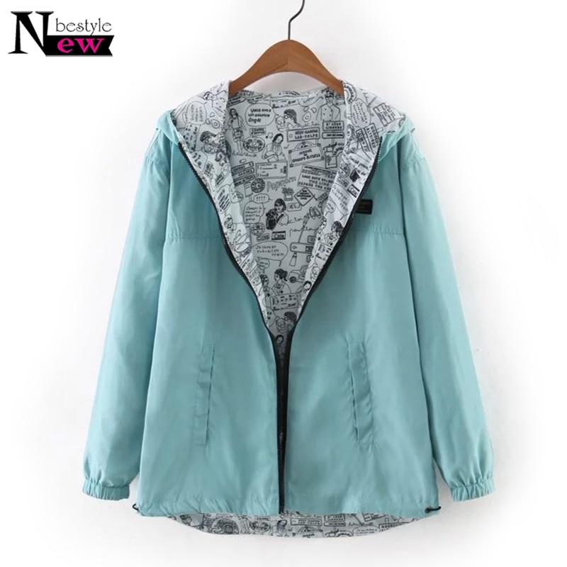 Fashion 2018 Autumn Women Bomber   Basic     Jacket   Pocket Zipper Hooded Two Side Wear Cartoon Print Outwear Female Casual Loose Coat