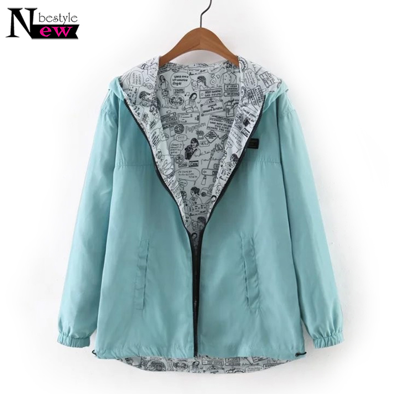 Fashion 2019 Autumn Women Bomber   Basic     Jacket   Pocket Zipper Hooded Two Side Wear Cartoon Print Outwear Female Casual Loose Coat