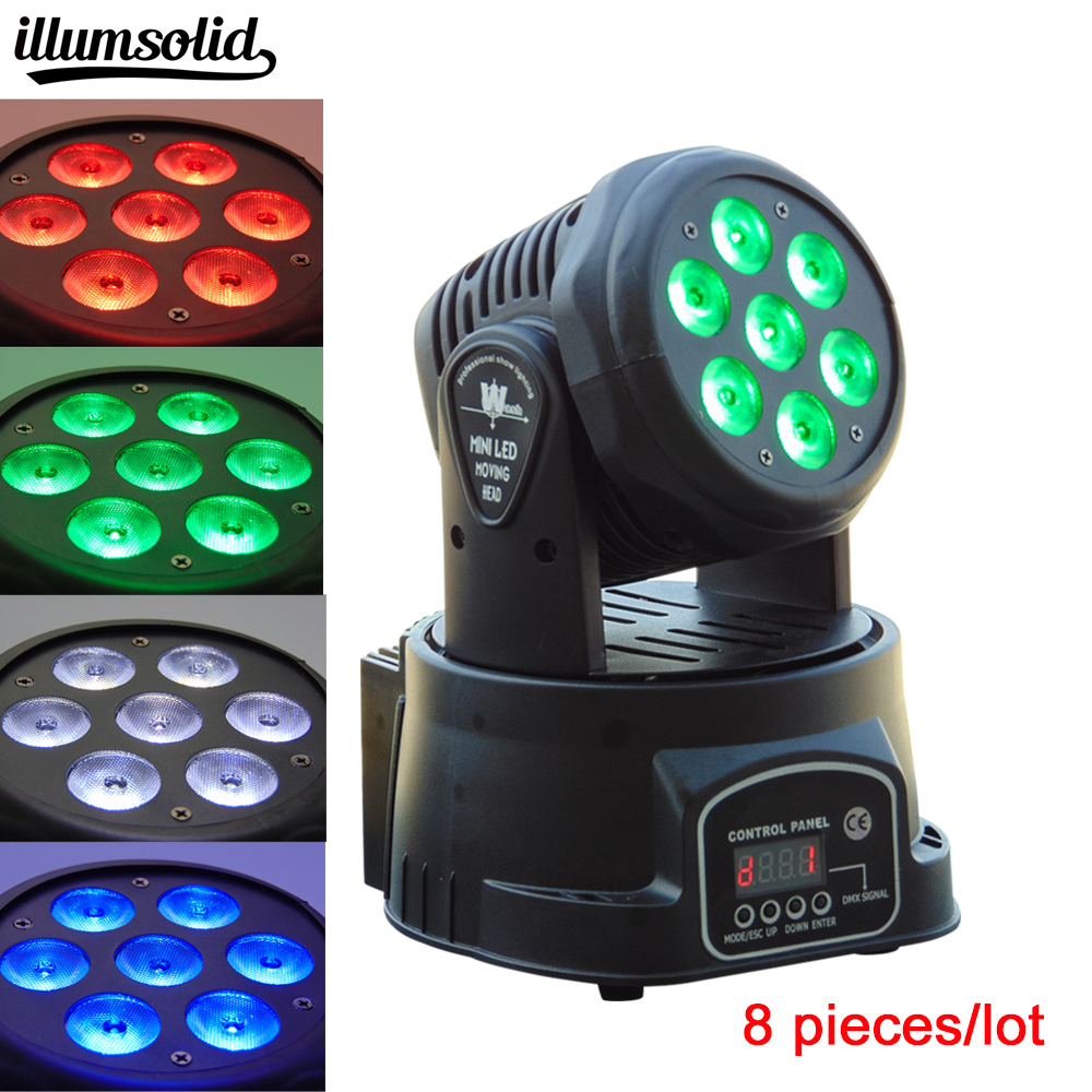8 pieces/lot Moving Head led dmx wash lighting 7x12w Spot Light Club DJ Stage Lighting Party Disco Moving heads Light 6pcs lot white color 132w sharpy osram 2r beam moving head dj lighting dmx 512 stage light for party