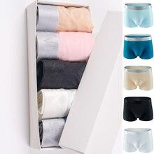 5 pz/lotto MenUnderwear Ultra sottile di ghiaccio di seta traceless U convesso piatto angolo di pantaloni con 3D punzonatura morire per traspirante biancheria intima sexy
