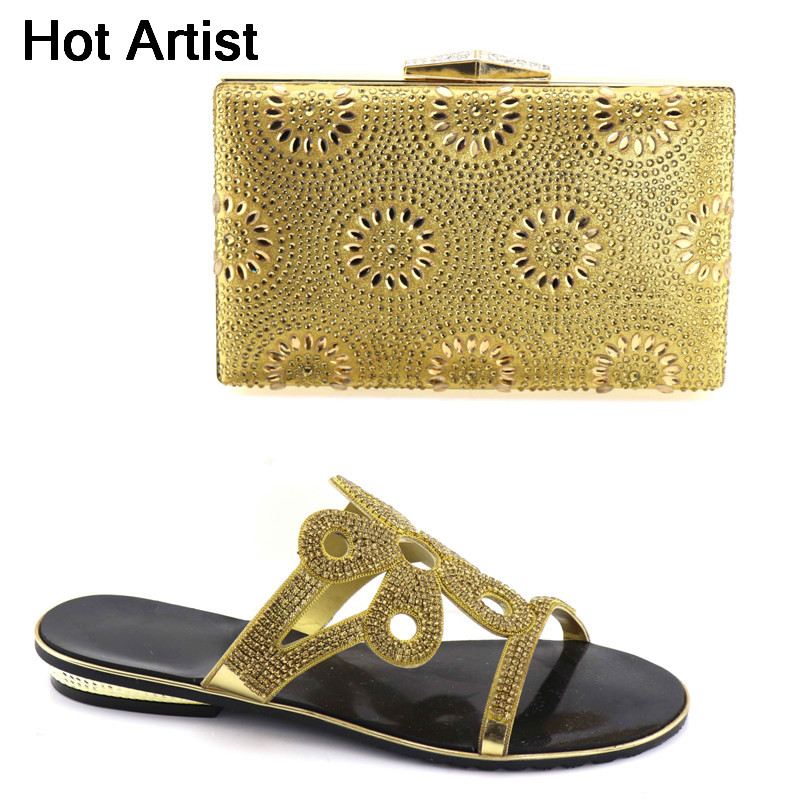 Hot Artist Gold Color New Africa Nigeria Women's Shoes With Matching Bags Sets Free Shipping DHL Size 37-43 YK-011 cd158 1 free shipping hot sale fashion design shoes and matching bag with glitter item in black