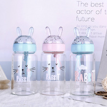 JOUDOO Cute Cartoon Rabbit Glass Water Bottle Portable Children School Drinking Bottles for Kids Girls 35