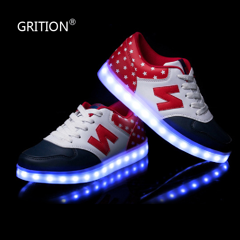 GRITION LED Light Up Shoes for Adults Dance Shoes Luminous Flats Shoes with Lights Tenis led