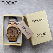 TIBOAT Brand Creative Watches Men Bamboo Wood Wristwatch with Bamboo Band Quartz Watch relogio masculino reloj de los hombres