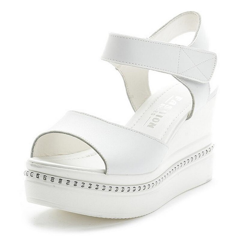 Women Sandals Rhinestones Thick Heel Sandals Summer Shoes White Silver Female Open Toes Platform Wedges Women's Shoes phyanic 2017 gladiator sandals gold silver shoes woman summer platform wedges glitters creepers casual women shoes phy3323