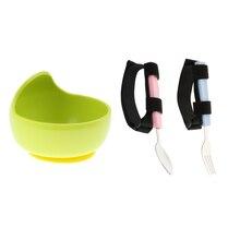 3pcs Hand Tremors Arthritis Elderly Utensil Eating Aid Spoon Fork Bowl Set