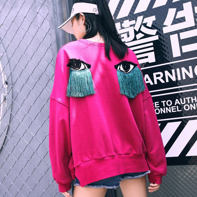 TREND-Setter 2019 Autumn And Winter Pink Sweatshirt Women Tassel Eyes Pattern Long Sleeve Harakuju Clothes