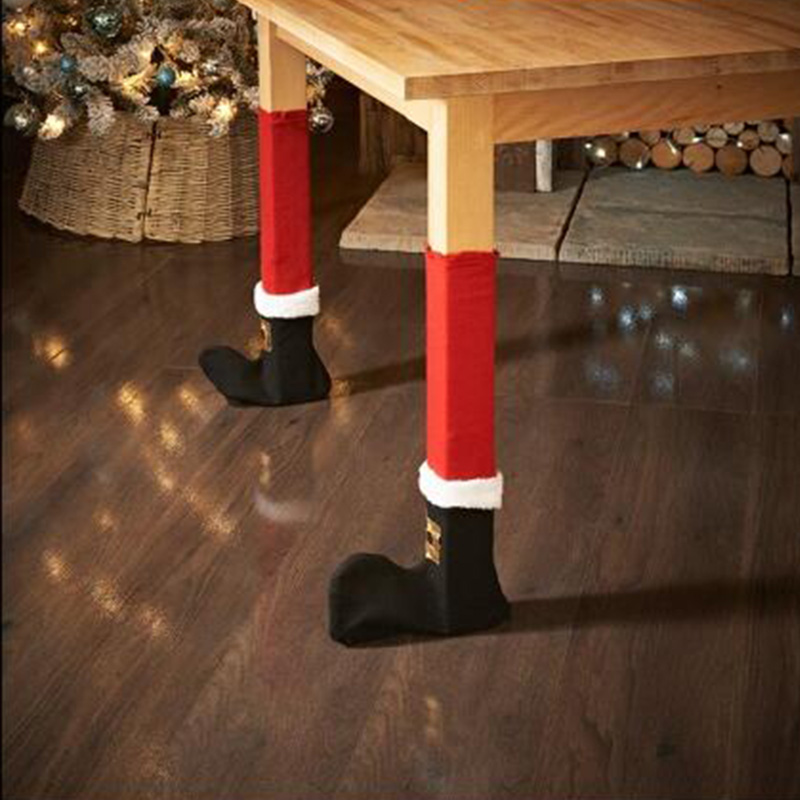 4pcs Christmas Chair Foot Caps Chair Foot Table Foot Cloth Cover Furniture Table Wood Floor Protectors Christmas Home Decor #824