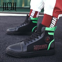 MUMUELI Black White Red 2018 Designer Casual Breathable Shoes Men High Top Quality Fashion Luxury Flat Adult Brand Sneakers L002