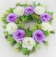 Artificial Silk Rose Flowers Wedding Car Decoration Heart Shaped Door Wreaths New Wedding Door Decoration Plants Purple Swag