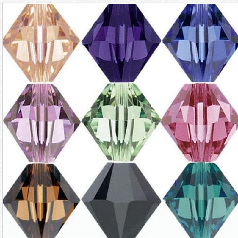 Todas as Cores & Mix de Cores 100 pcs 4mm Bicone Áustria Contas de Cristal charme Contas de Vidro Solto Spacer Bead para DIY Fazer Jóias