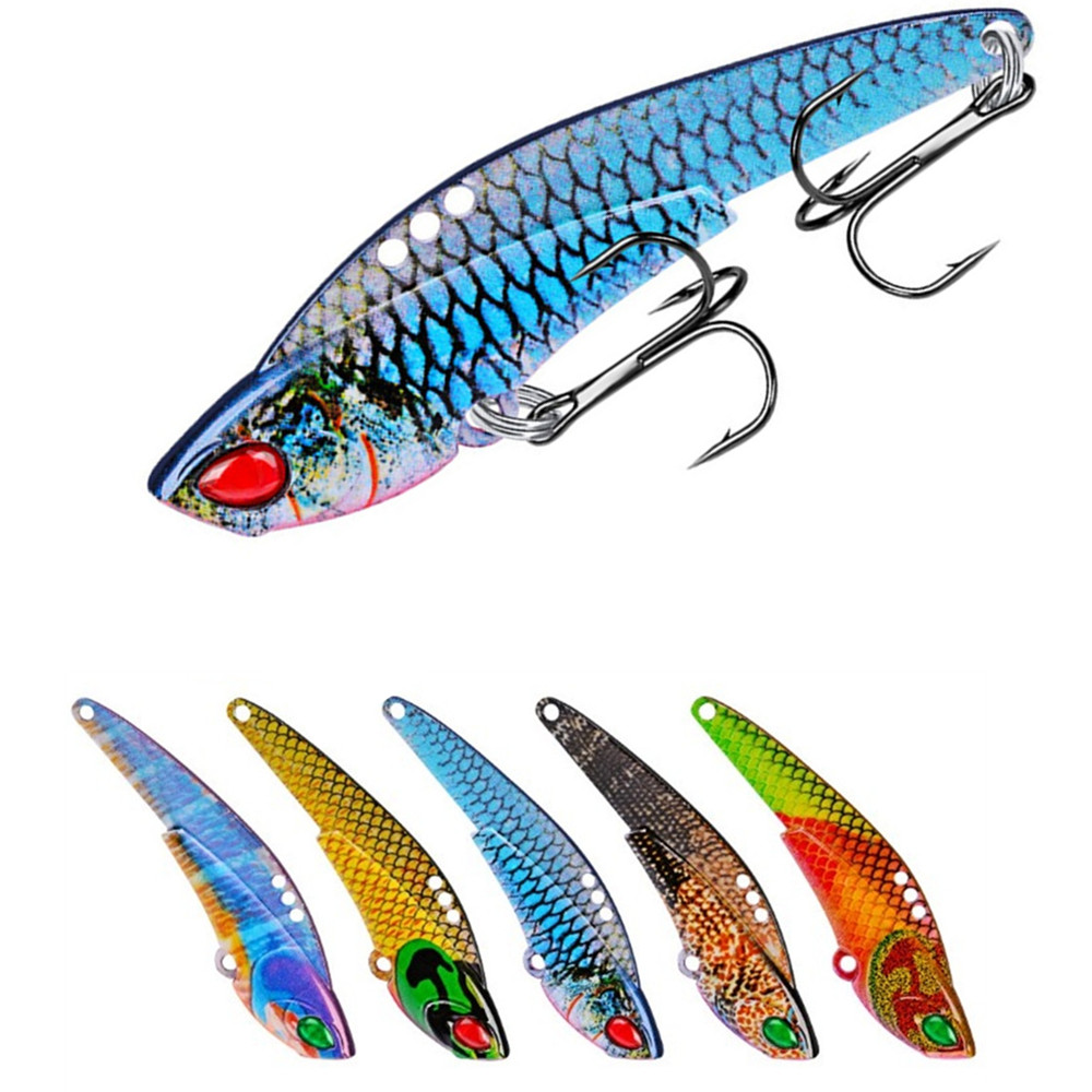 1pcs Metal VIB Fishing Lure 6cm 12g Pike Bass Artificial Hard Bait Flying Vibration Spoon Spinner Sinking Bait Fishing Tackle