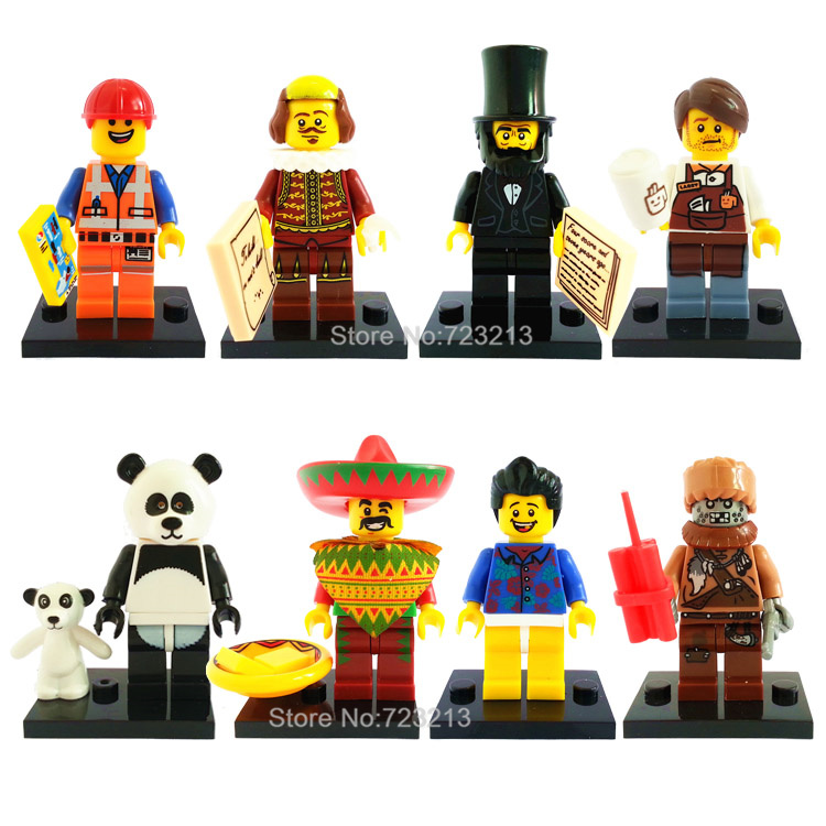 8pcs/lot The Movie Panda Figure Cool box Lincoln Gentleman Building Blocks Sets Model Classic Bricks Toys For Children 8pcs lot movie super hero 2 avenger aochuang era kid baby toy figure building blocks sets model toys compatible with lego