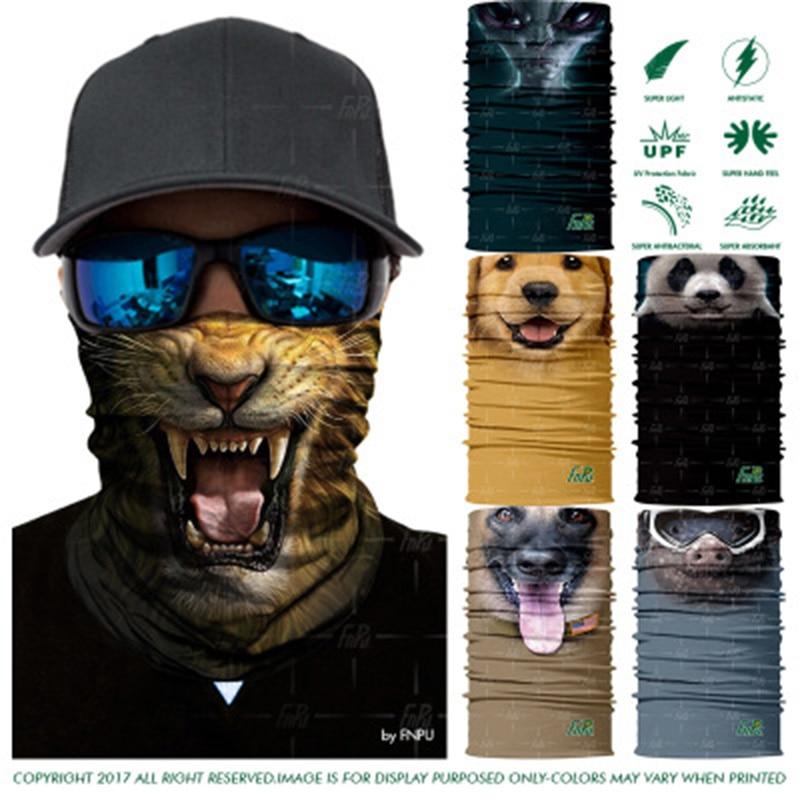 3D Seamless Scarf Animal Cat Dog Panda Magic Headband Tube Shield Face Mask Bandanas Scarf Headwears Ring Unisex Scarf Balaclava