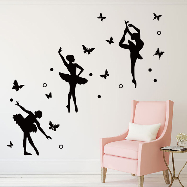 Ballet Girls Butterfly Dancing Room Decoration Gymnastics Wall Sticker Girl Bedroom Wall Decor Wall Art Sticker & Ballet Girls Butterfly Dancing Room Decoration Gymnastics Wall ...