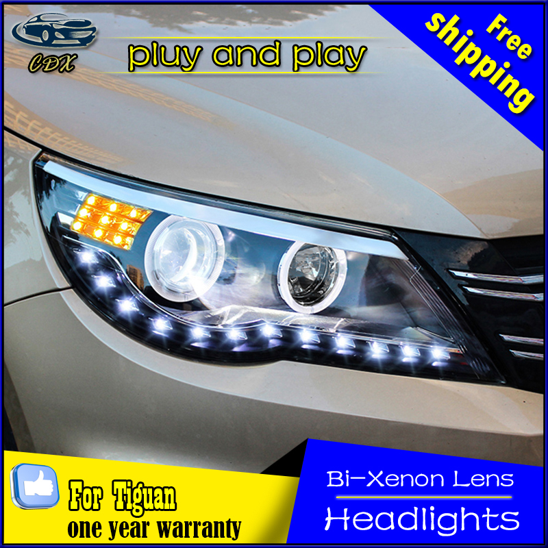 car styling head lamp For VW Tiguan headlights angel eyes DRL 2010-2012 For VW Tiguan LED light  DRL Q5 bi xenon lens h7 xenon brand new superb led cob angel eyes hid lamp projector lens foglights for vw tiguan 2010 2012