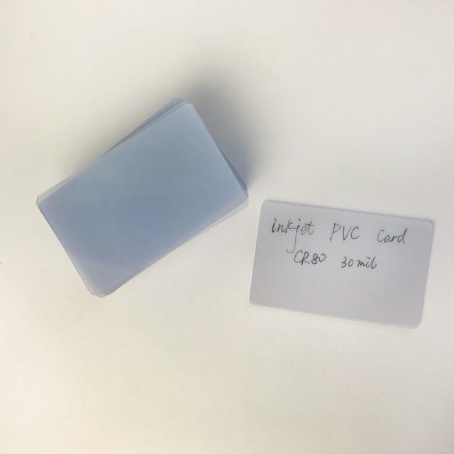 50 개/몫 빈 광택 일반 신용 카드 크기 흰색 플라스틱 잉크젯 PVC ID 카드 투명 카드 엡 손/캐논 잉크젯 프린터에 대 한