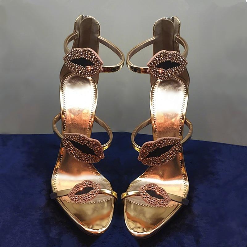 Chaussures Mujer Sandalias Pic Femmes Stiletto 2018 À Lacets Lèvres Talons as Lady Haute Mariage Femme Gladiateur Cristal D'été De Pic Pompes As Cage Sandales WUYqC