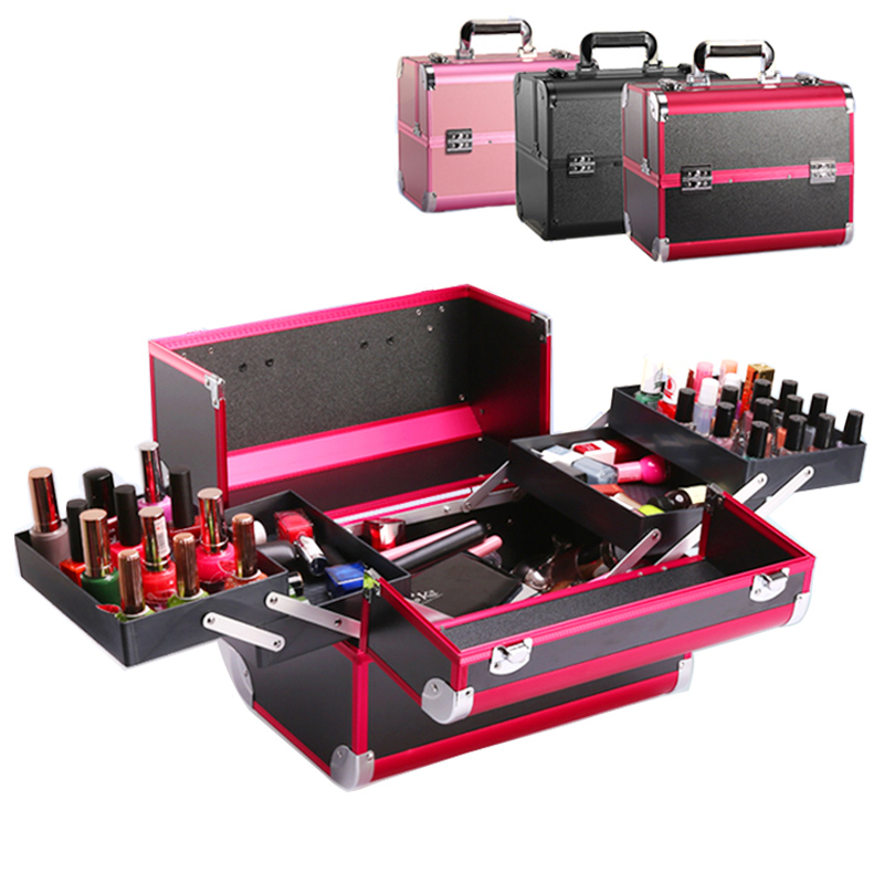 Fashion Suitcase Cosmetic Bag Case For Cosmetics High Quality Large Capacity Makeup Bag Make Up Organizer