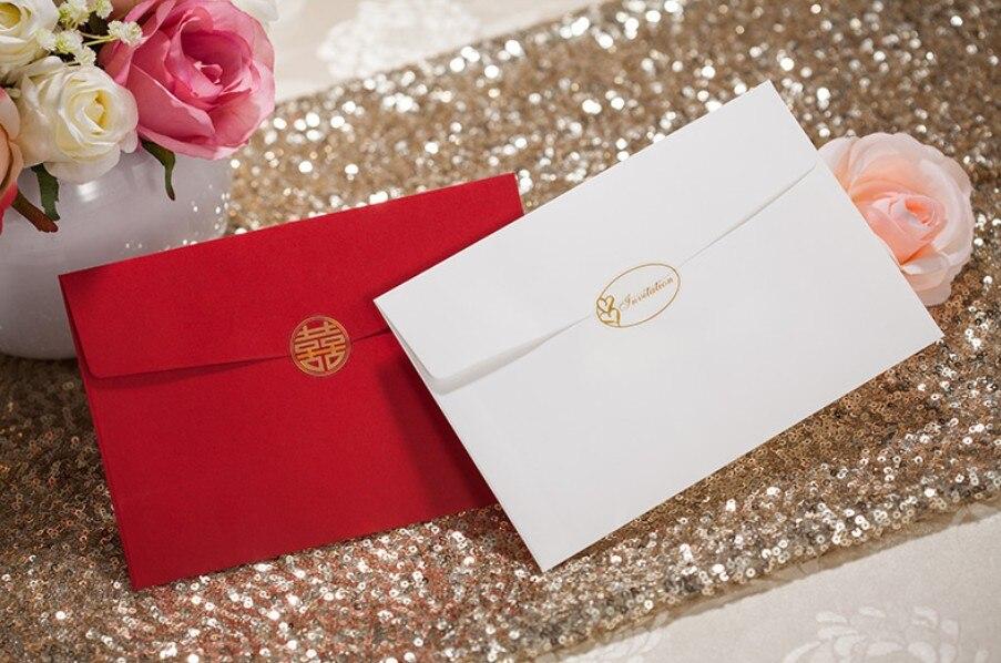 Bronzing bride and groom wedding invitations card with envelope ...