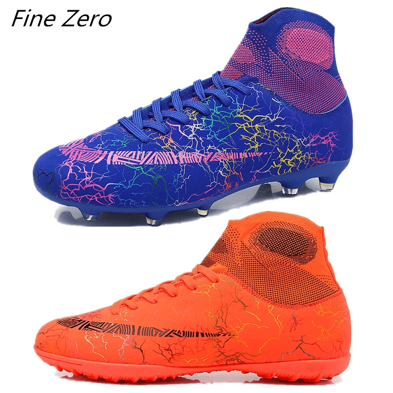 New Adults Men's Outdoor Soccer Cleats Shoes High Top TF/FG Football Boots Training Sports Sneakers Student's Original Cleats(China)