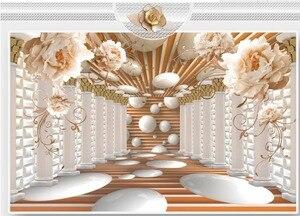 3d обои для комнаты римская колонна Искусство Цветок пространство фрески пользовательские 3d обои цветок обои