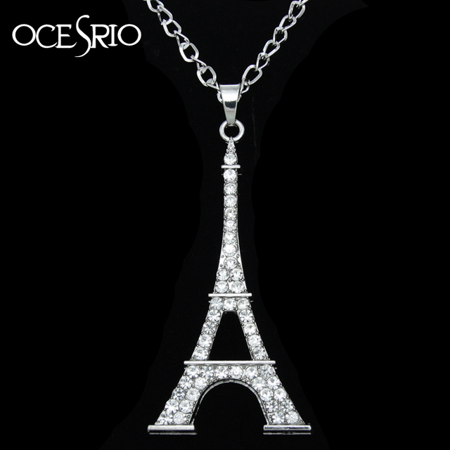 Big eiffel tower pendant necklace rhinestones silver link chain big eiffel tower pendant necklace rhinestones silver link chain necklace paris sweater necklace women fashion jewelry aloadofball Images