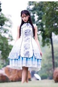 Новые модные милые платья для девочек в китайском стиле с вышивкой белого тигра в стиле лолиты платье в стиле ретро Размер S-3XL