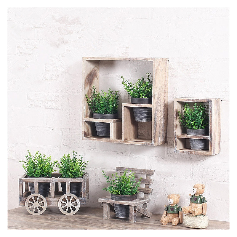 Home Decor Pastoral Wood Plocelain Wall Hanging Ornaments Home Wall Decoration Crafts Micro Landscape Garden Decoration