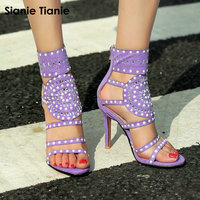 Sianie Tianie Crystal Thin High Heels 11cm Women Zipper Glitter Gladiator Woman Shoes Purple Women Sandals Plus Size 43 44 45 46
