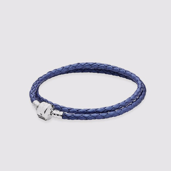 925 Sterling Silver Long Blue Leather Bracelet For Women Clip Charm Jewelry Compatible With Brand European  Bracelets For Women