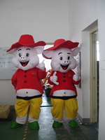 2014 Hot sale Professional Style two pigs Mascot Costume Fancy Dress for Adult Fancy Dress Party Halloween Costume Free Ship