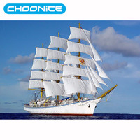 Chinese Cross Stitch Sail Ships Diamond Painting 3D DIY Navy White Sailboat Scenic Painting By Numbers