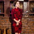 TIC-TEC chinese traditional dress women cheongsam short qipao vintage red slim elegant oriental dresses wedding clothes P2892